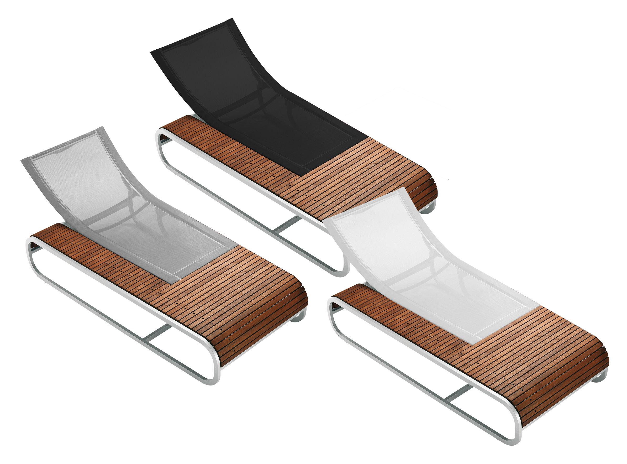 Chaise longue tandem version teck teck toile noire ego - La chaise longue paris 16 ...