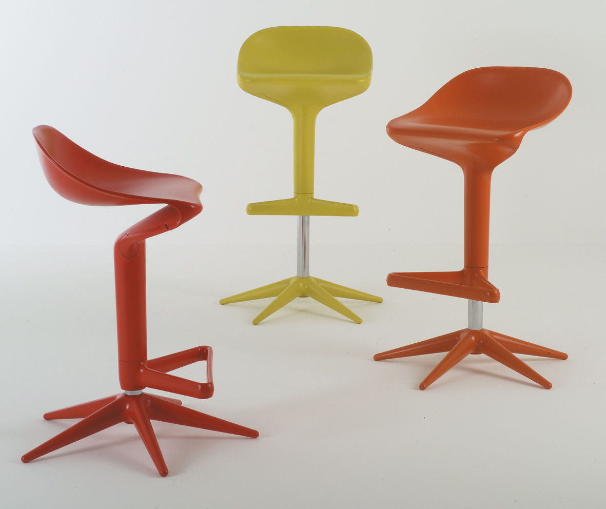 spoon adjustable bar stool  pivoting  plastic red by kartell - zoom