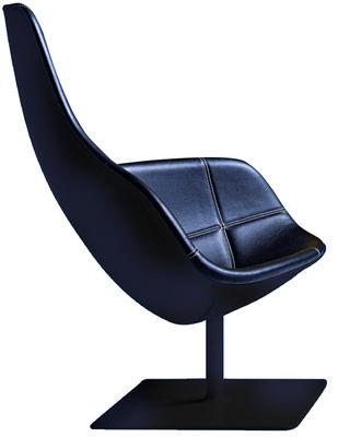 Möbel - Außergewöhnliche Möbel - Fjord Drehsessel - Moroso - Schwarzes Leder mit weißen Nähten, Fuß schwarz - lackierter Stahl