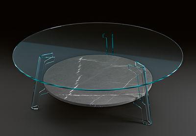 Tavolino Flute - / Ø 120 cm di FIAM - Grigio,Trasparente - Vetro