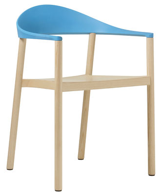 Furniture - Chairs and high armchairs - Monza Stackable armchair - Plastic & wood by Plank - Natural / Blue backrest - Polypropylene, Varnished ashwood