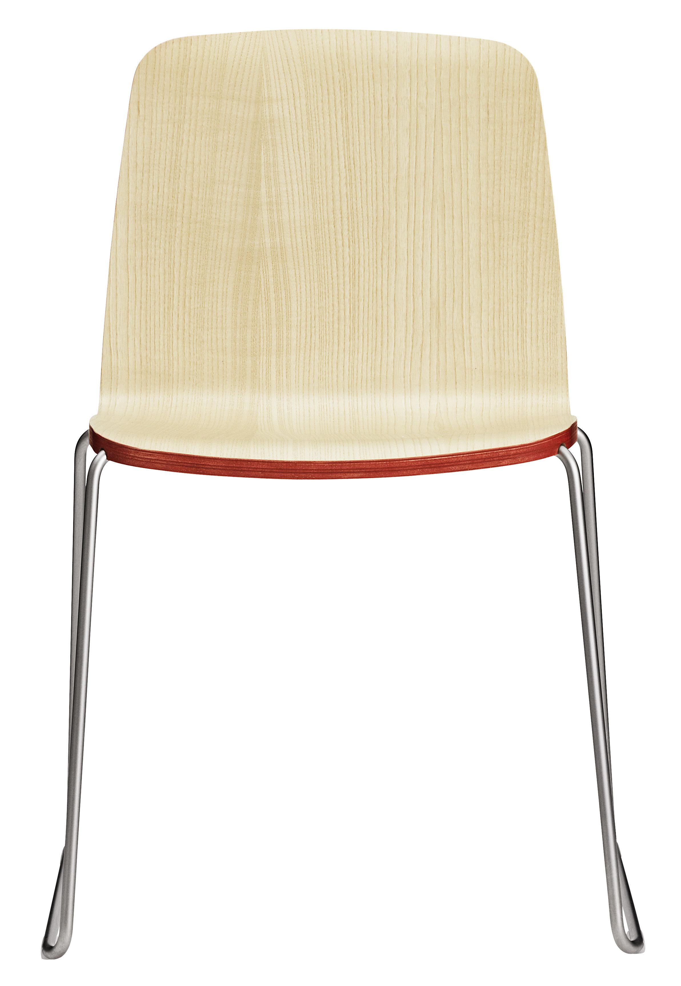 chaise empilable just bois fr ne avec contour rouge pied chrom normann copenhagen. Black Bedroom Furniture Sets. Home Design Ideas