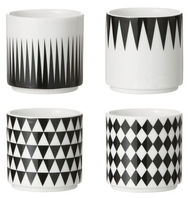 Arts de la table - Tasses et mugs - Tasse à espresso / Set de 4 - Ferm Living - Noir , Blanc - Porcelaine