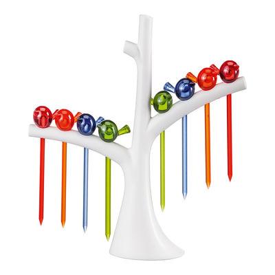 Arts de la table - Accessoires - Piques pour amuse-gueules PI:P / Lot de 8 avec support-arbre - Koziol - Arbre blanc / Oiseaux : bleu, vert olive, orange, rouge - Plastique
