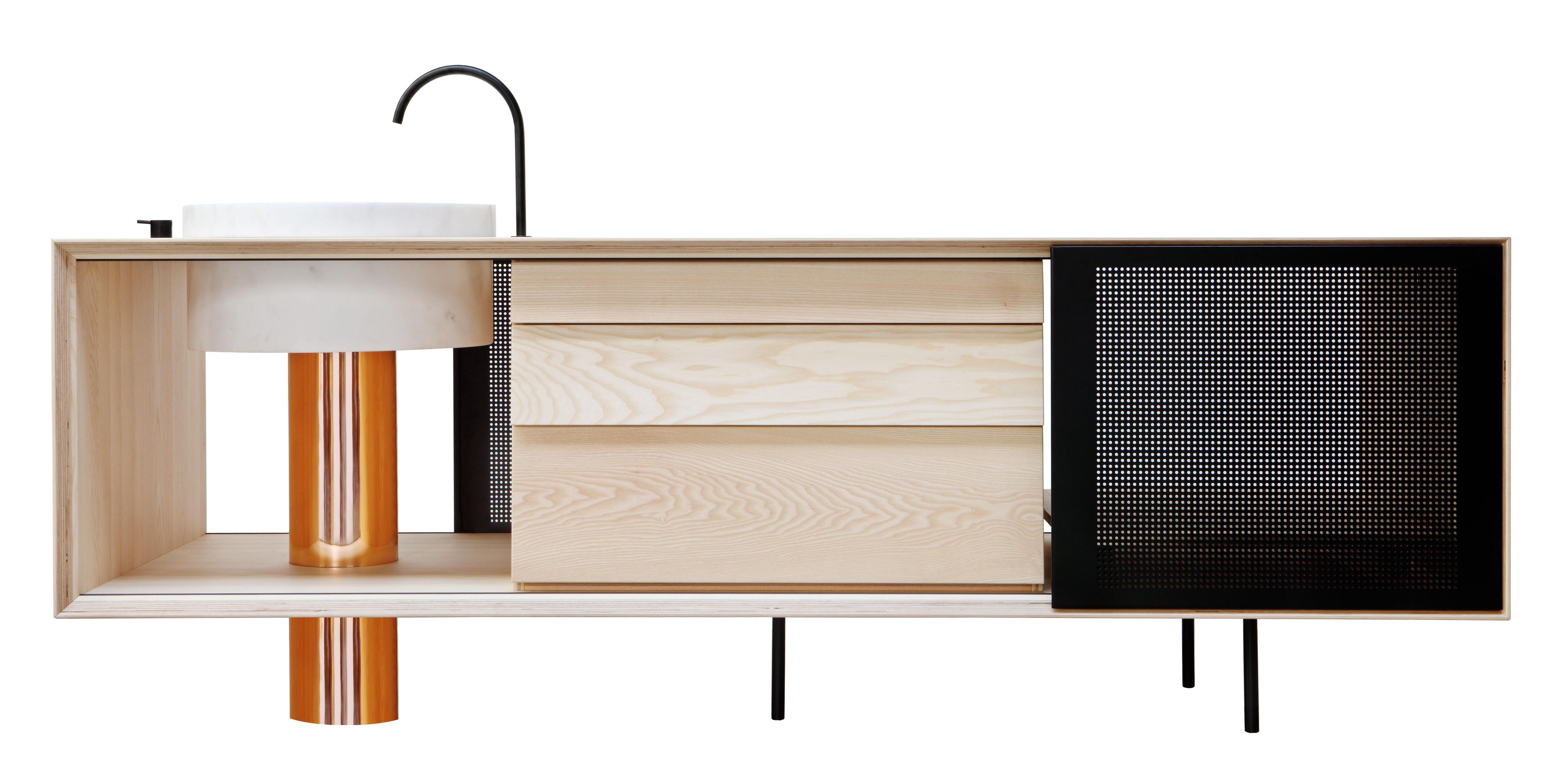 ilot de cuisine float avec vier marbre l 244 cm bois noir cuivre marbre blanc miras. Black Bedroom Furniture Sets. Home Design Ideas