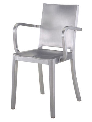 Furniture - Chairs - Hudson Outdoor Armchair - Aluminium by Emeco - Brushed aluminium - Brushed aluminium