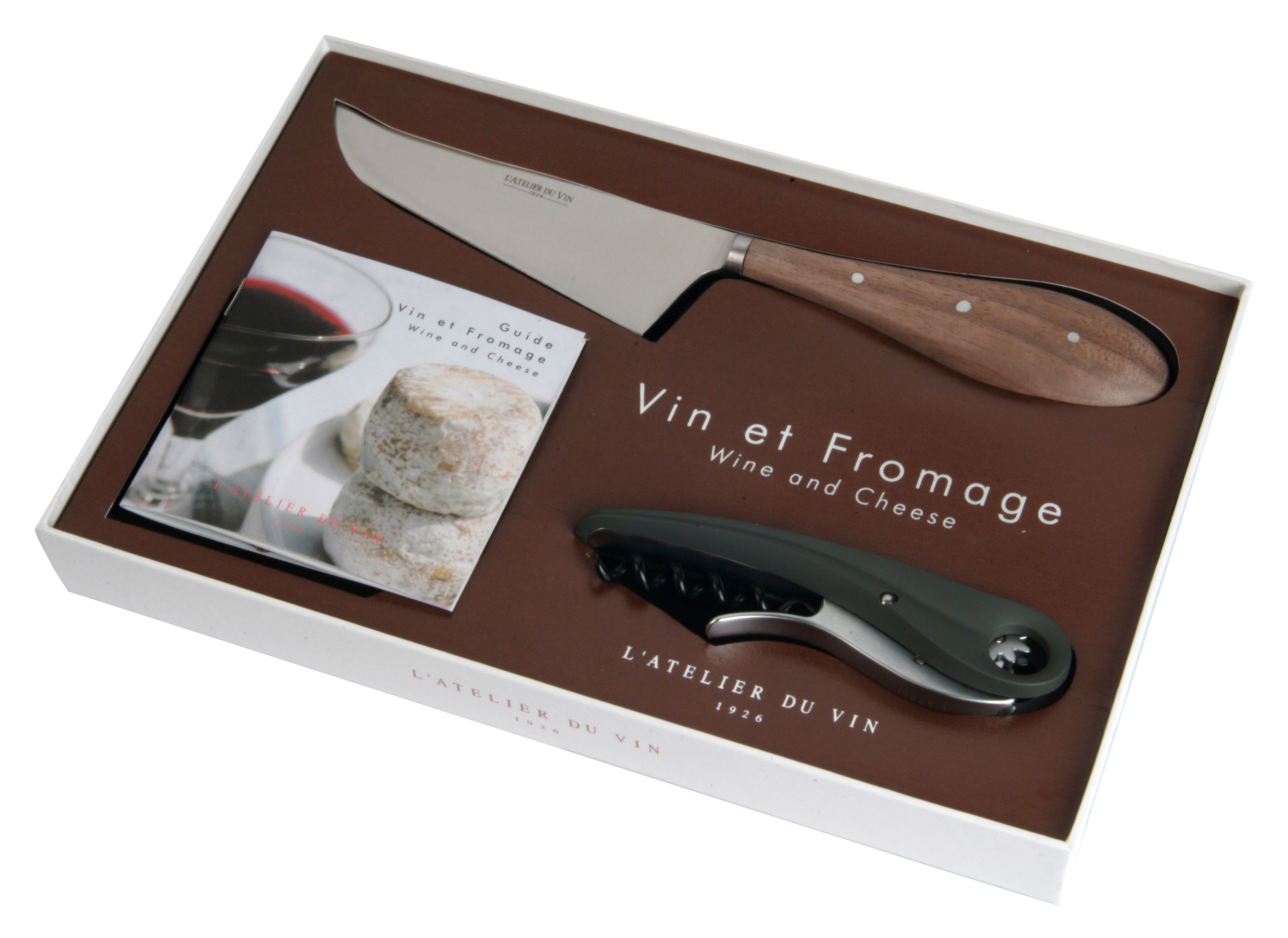 coffret vin fromage tire bouchon couteau fromage et guide de d gustation anthracite l. Black Bedroom Furniture Sets. Home Design Ideas