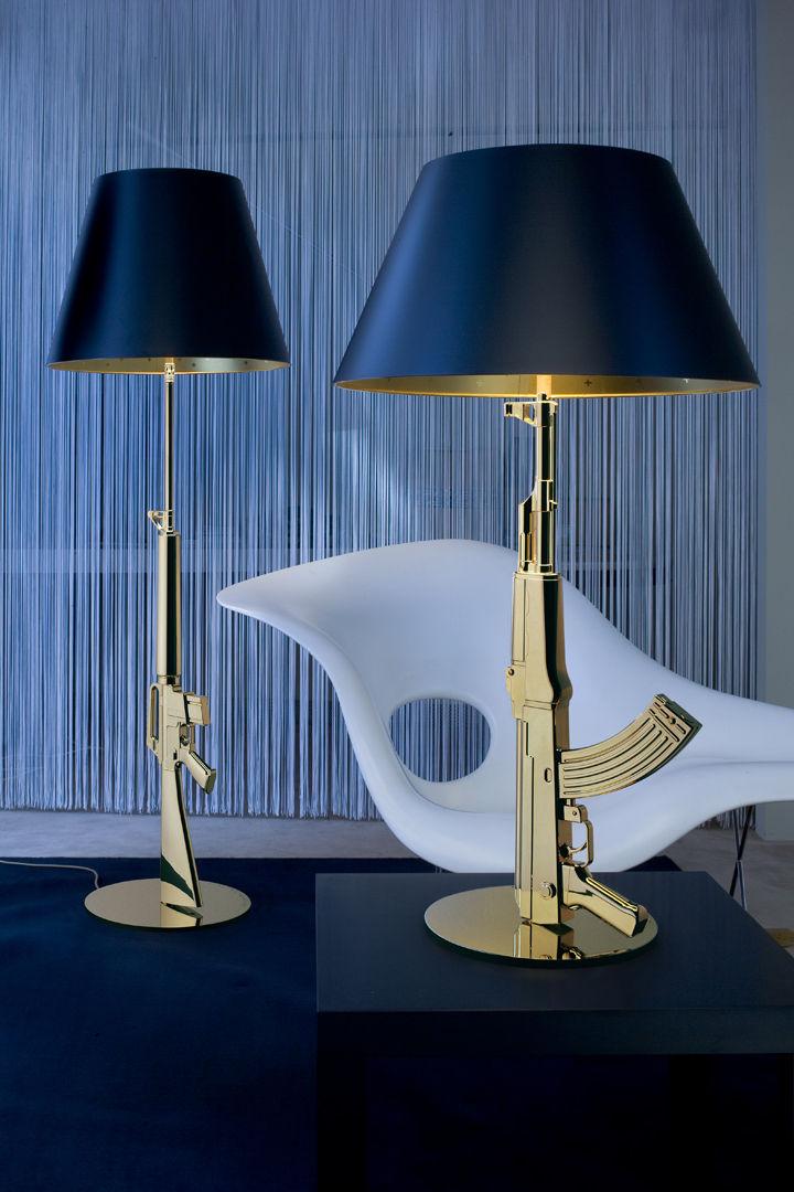 table gun table lamp h 92 cm gold 18 k black by flos. Black Bedroom Furniture Sets. Home Design Ideas