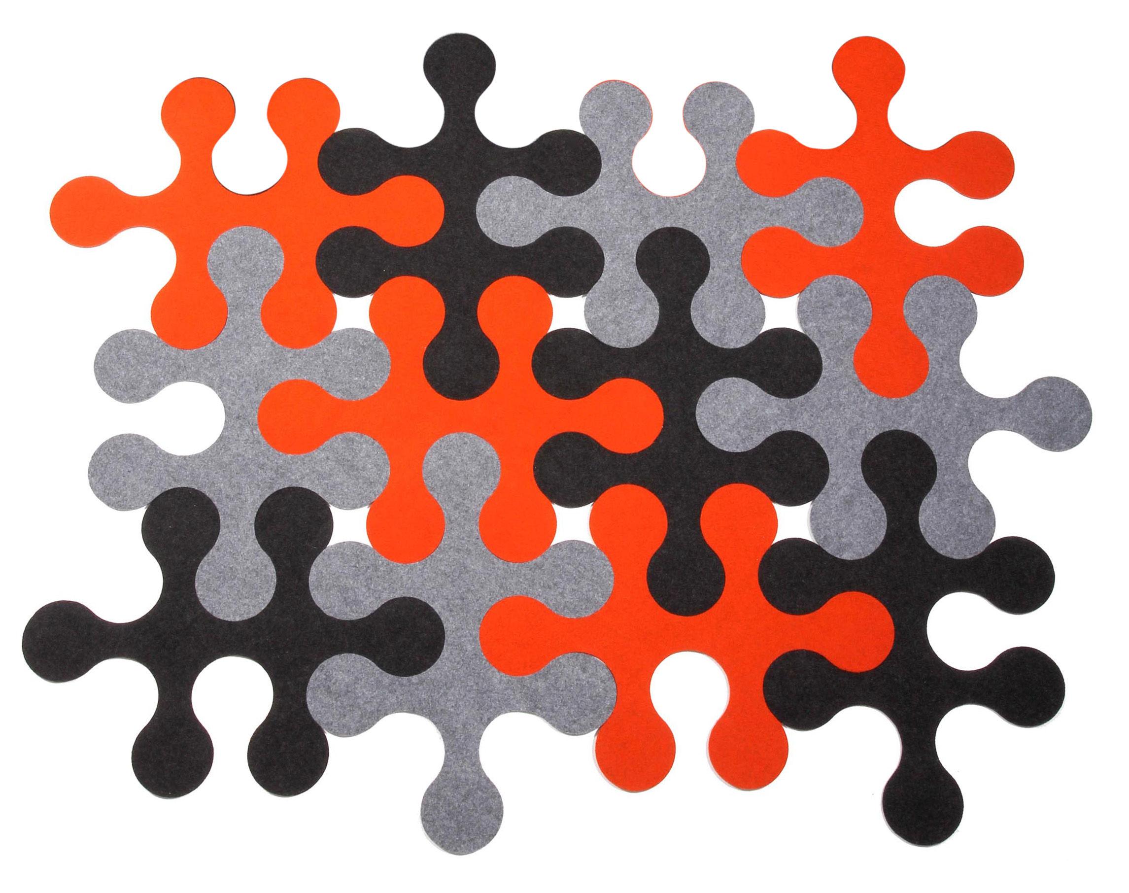 tapis mol cules 12 pi ces 3 couleurs 3 couleurs anthracite gris orange la corbeille. Black Bedroom Furniture Sets. Home Design Ideas