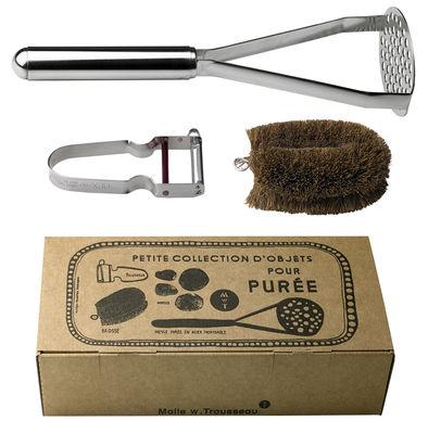 Coffret Petite Collection pour purée / Presse-purée, éplucheur & brosse - Malle W. Trousseau marron,métal en métal