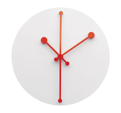 Horloge murale Dotty Clock / Ø 20 cm - Alessi blanc,rouge en métal