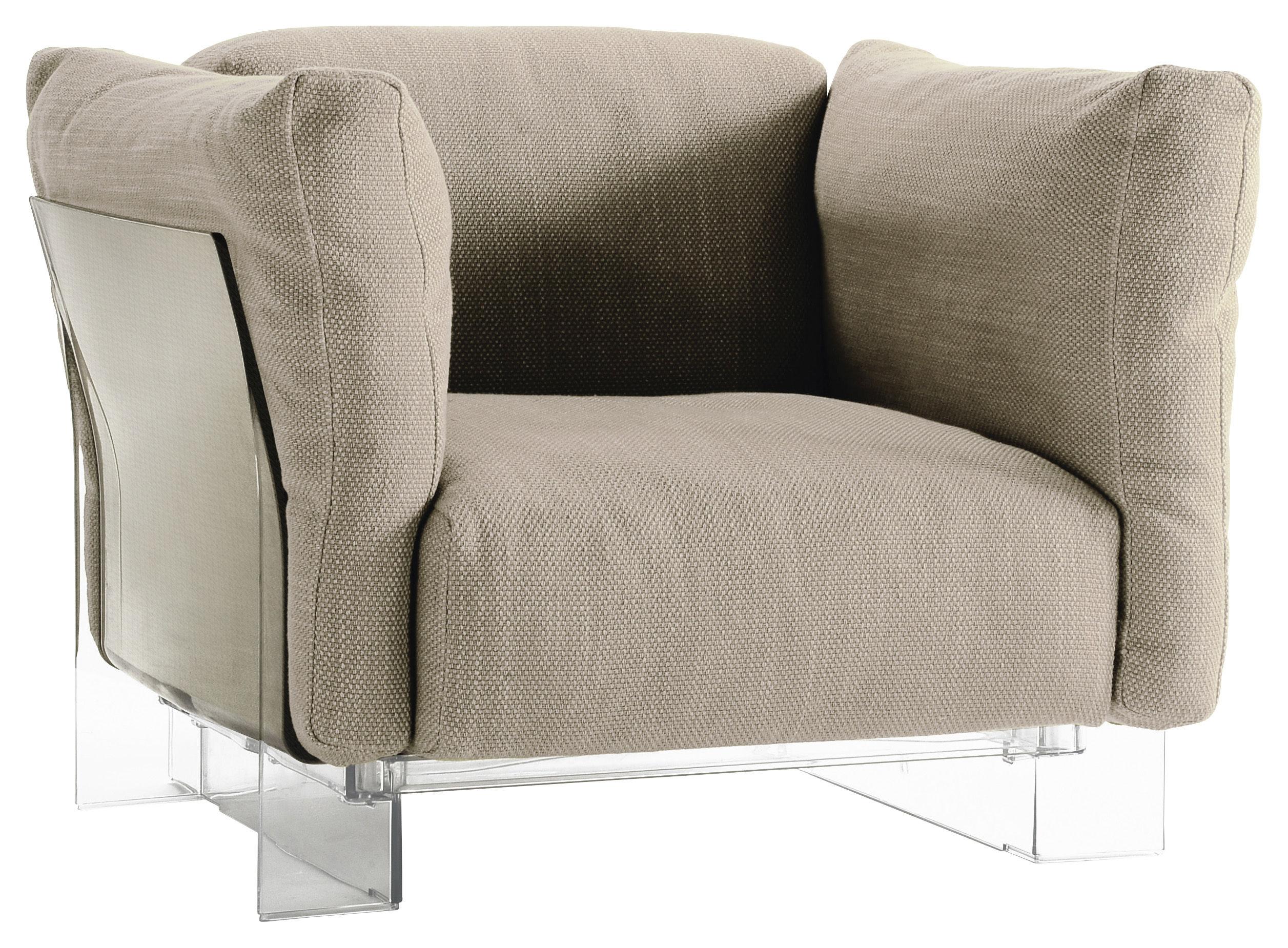 fauteuil rembourr pop duo structure transparente ecru kartell. Black Bedroom Furniture Sets. Home Design Ideas