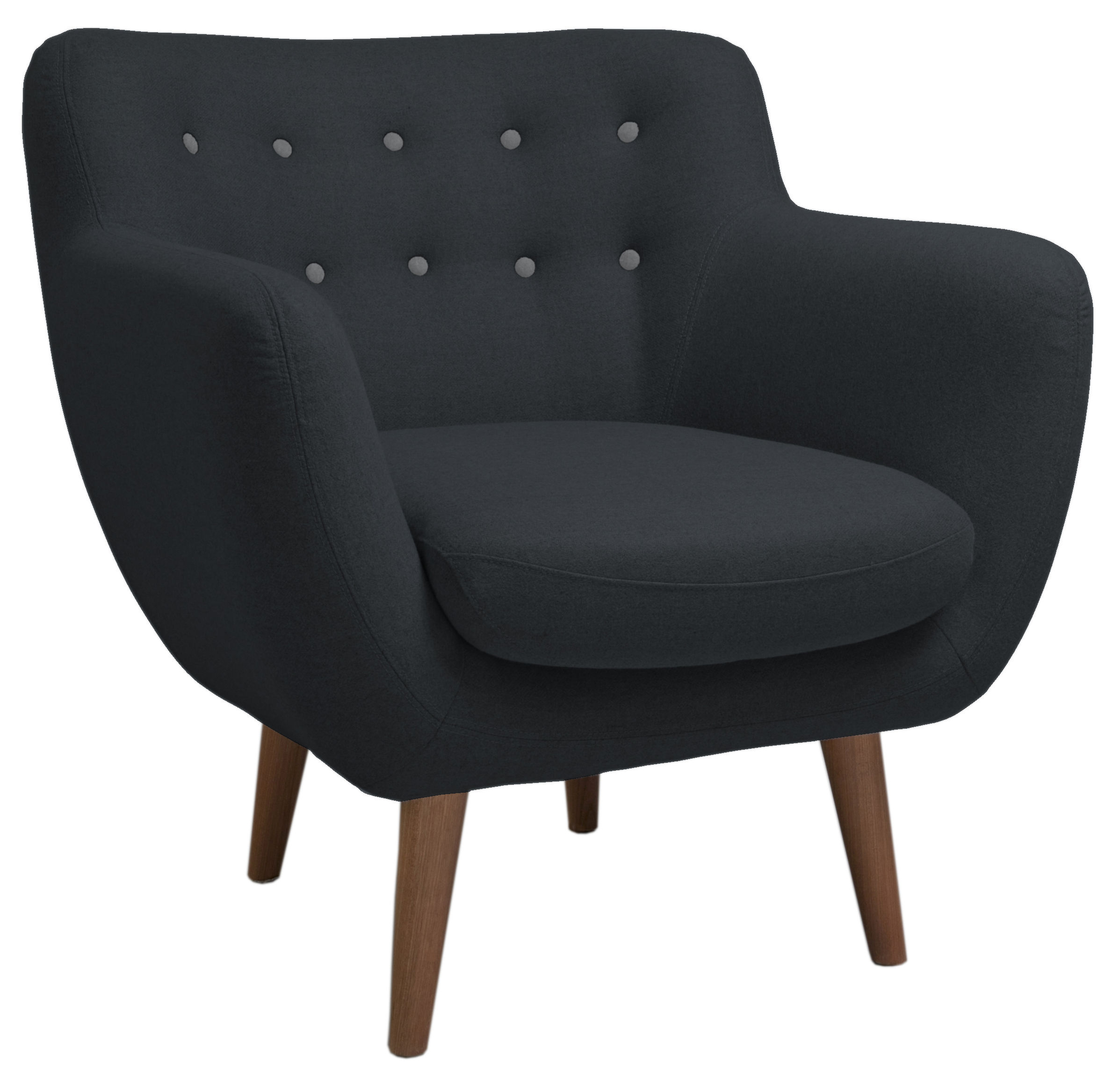 fauteuil rembourr coogee anthracite boutons gris clair sentou edition. Black Bedroom Furniture Sets. Home Design Ideas