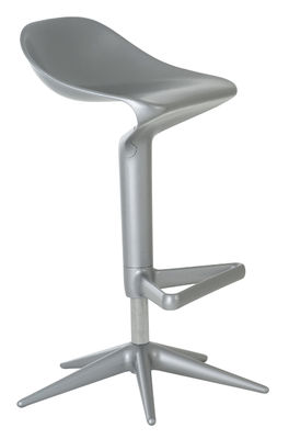 tabouret haut r glable spoon pivotant plastique aluminium kartell. Black Bedroom Furniture Sets. Home Design Ideas