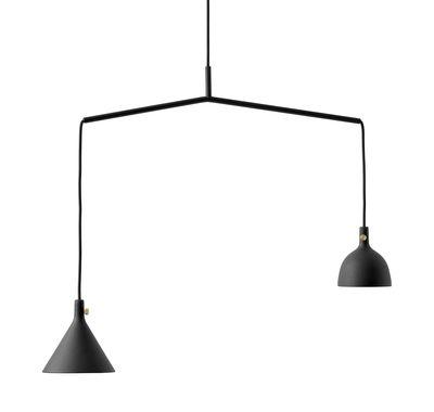 Luminaire - Suspensions - Suspension Cast n°4 / 2 abat-jours - L 56 cm - Menu - Noir - Fonte d'aluminium