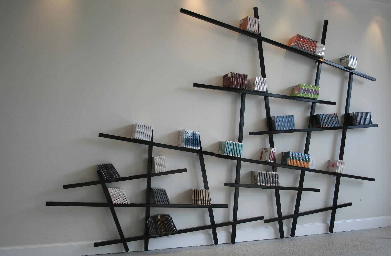 Biblioth que mikado large l 215 x h 220 cm rouge compagnie - Librerias lacadas ...