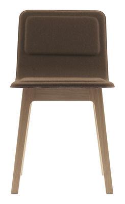 Mobilier - Chaises, fauteuils de salle à manger - Chaise rembourrée Laia / Dossier bas - Feutre de laine - Alki - Beige foncé / Piètement chêne naturel - Chêne massif, Feutre de laine, Multiplis de hêtre