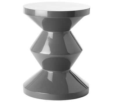 Furniture - Stools - Zig Zag Stool - Stool/Low table - Exclusivity by Pols Potten - Grey - Lacquered polyester