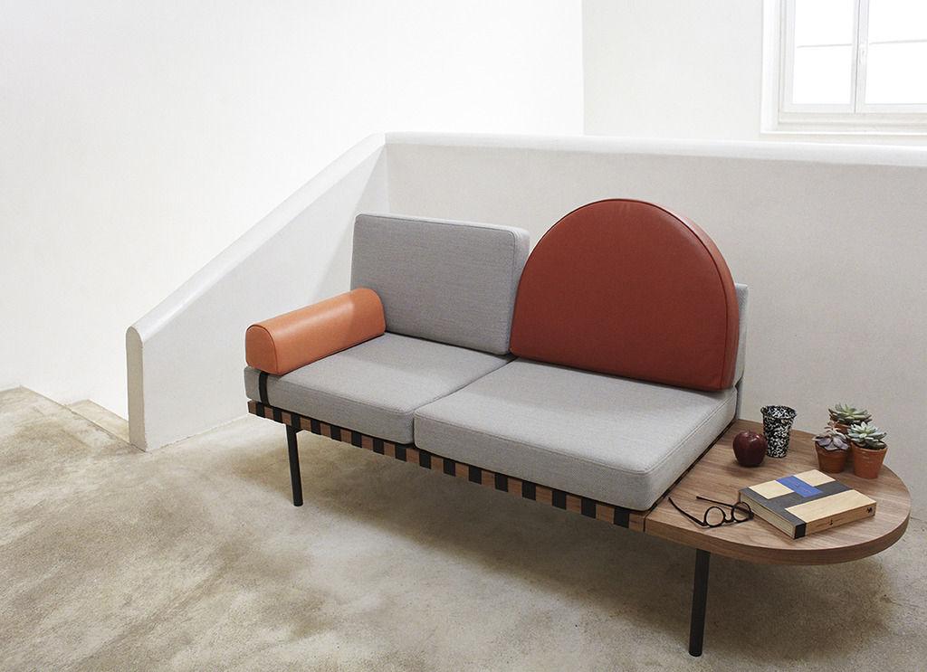 canap 2 places grid modulable l 187 cm gris bleu fonc moutarde petite friture. Black Bedroom Furniture Sets. Home Design Ideas