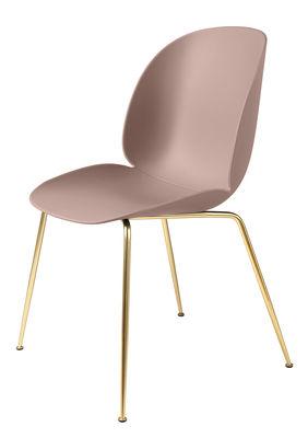 Mobilier - Chaises, fauteuils de salle à manger - Chaise Beetle / Gamfratesi - Pieds laiton - Gubi - Rose / Pieds laiton - Acier plaqué laiton, Polypropylène