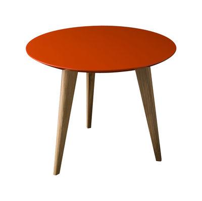 Tavolino Lalinde Small - Ø 45cm / Gambe in legno di Sentou Edition - Rosso,Rovere - Legno