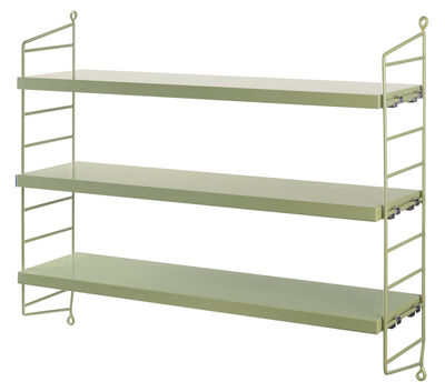 Mobilier - Etagères & bibliothèques - Etagère String Pocket / L 60 x H 50 cm - String Furniture - Vert / Montants verts - Acier laqué, MDF peint
