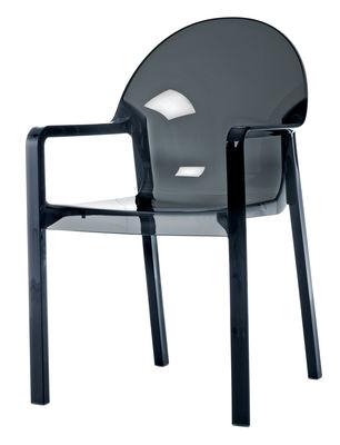 Mobilier - Chaises, fauteuils de salle à manger - Fauteuil empilable Tosca / Plastique - Magis - Gris fumé transparent - Polycarbonate