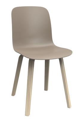 Chaise Substance / Plastique & pieds bois - Magis beige,frêne en matière plastique