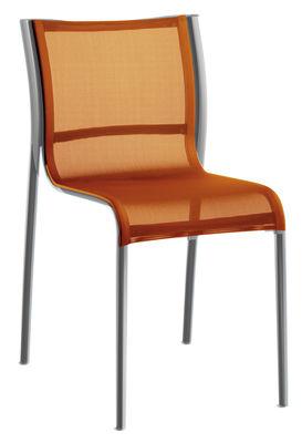 Chaise empilable Paso Doble / Toile - Alu poli - Magis orange,chromé en tissu