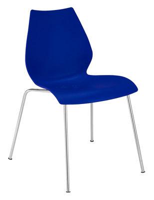 Chaise empilable maui plastique pieds m tal bleu marine kartell for Chaise empilable plastique