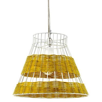 Luminaire - Suspensions - Suspension Straw / Rotin - Ø 36 x H 29 cm - Serax - Jaune & rotin / Structure blanche - Métal, Rotin