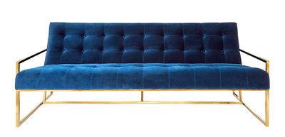 Goldfinger Apartment Sofa / Velours & Messing - L 173 cm - Jonathan Adler - Marineblau,Messing Poliert