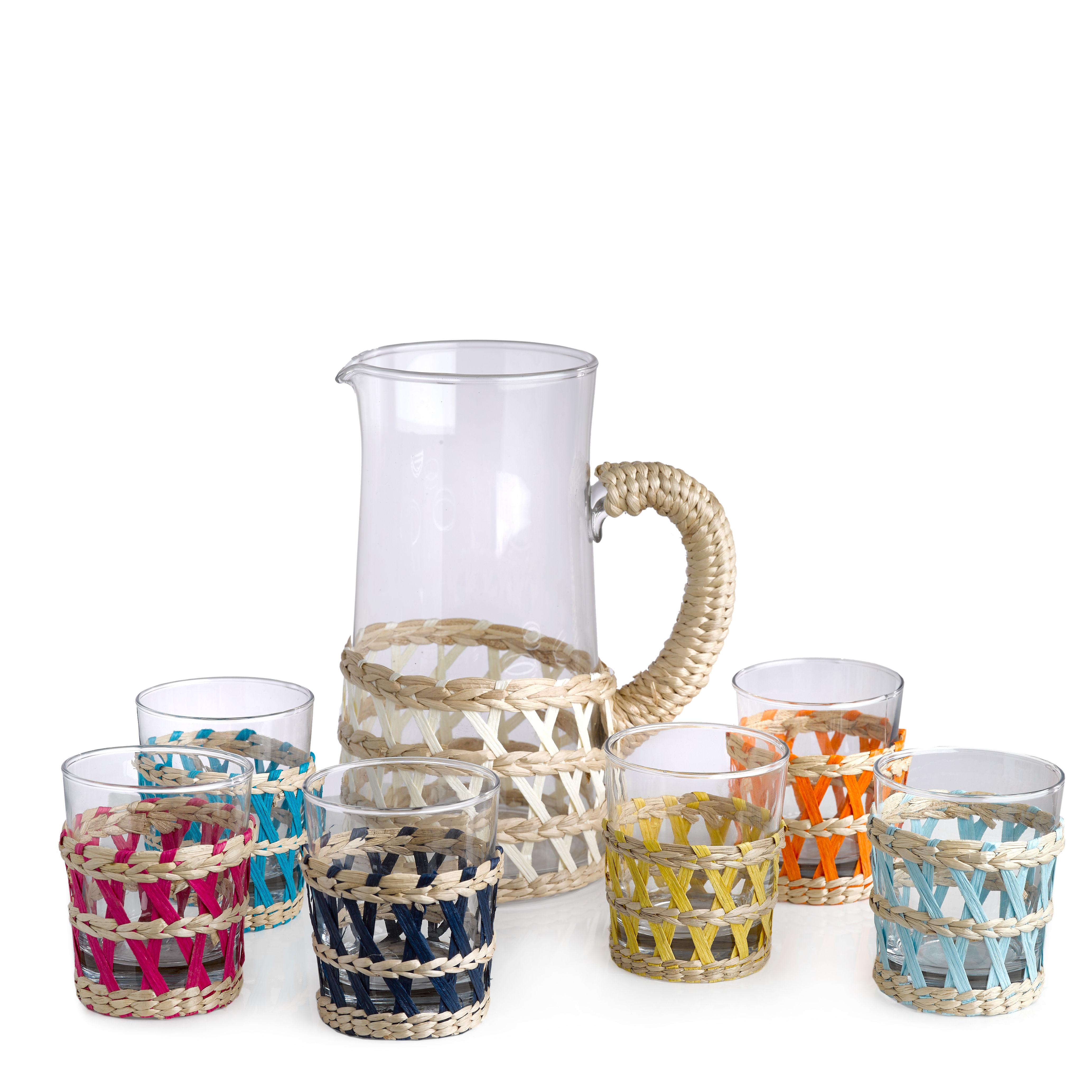 reed wasserglas 6er set glas schilfgeflecht schilfgeflecht natur gef rbt. Black Bedroom Furniture Sets. Home Design Ideas