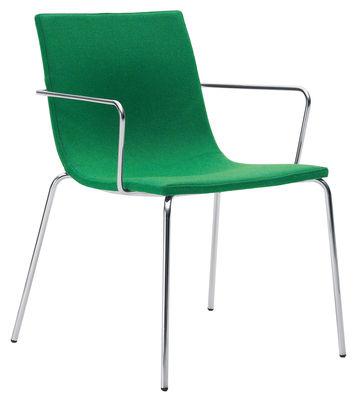 Arredamento - Sedie  - Poltrona imbottita Bond Light di Offecct - Verde - Acciaio cromato, Tessuto