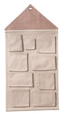 Rangement mural House / Tissu - L 80 x H 98 cm - Ferm Living rose en tissu