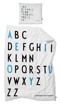 Foto Set da letto bambino Arne Jacobsen / 100 x 140 cm - Design Letters - Bianco,Nero,Turchese - Tessuto Biancheria da letto bambino