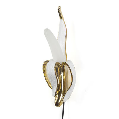 Banana Mr Roy Wandleuchte / Kunstharz & Glas - Seletti - Weiß,Gold