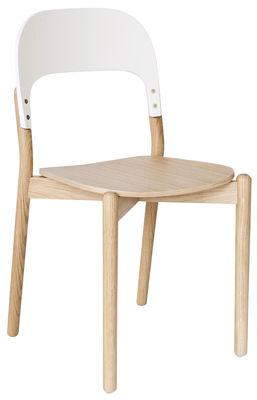Mobilier - Chaises, fauteuils de salle à manger - Chaise Paula / Chêne - Hartô - Chêne / Dossier blanc - Chêne massif, MDF peint