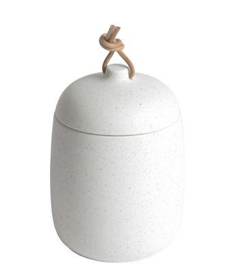 Pot Socoa / Grès - Ø 10,5 x H 17 cm - ENOstudio blanc,cuir naturel en cuir
