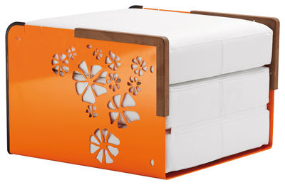 Chauffeuse convertible Kube / Bain de soleil, table basse - EGO Paris blanc,orange en métal