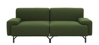 Mobilier - Canapés - Canapé modulable Summit / 2 parties articulées - L 197 cm - Casamania - Vert Cactus - Cuir, Métal, Mousse polyuréthane, Tissu