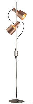 Luminaire - Lampadaires - Lampadaire Chester / H 140 cm - 2 abats-jours ajustables & orientables - Original BTC - Cuivre satiné / Pied acier - Acier inoxydable, Cuivre satiné