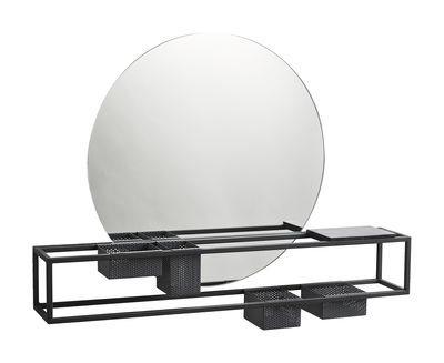 Miroir Mirror Box / Rangements intégrés - L 75 cm - Woud noir en métal