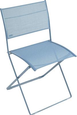 Möbel - Stühle  - Plein Air Klappstuhl - Fermob - Türkis - galvanisierter Stahl, Leinen