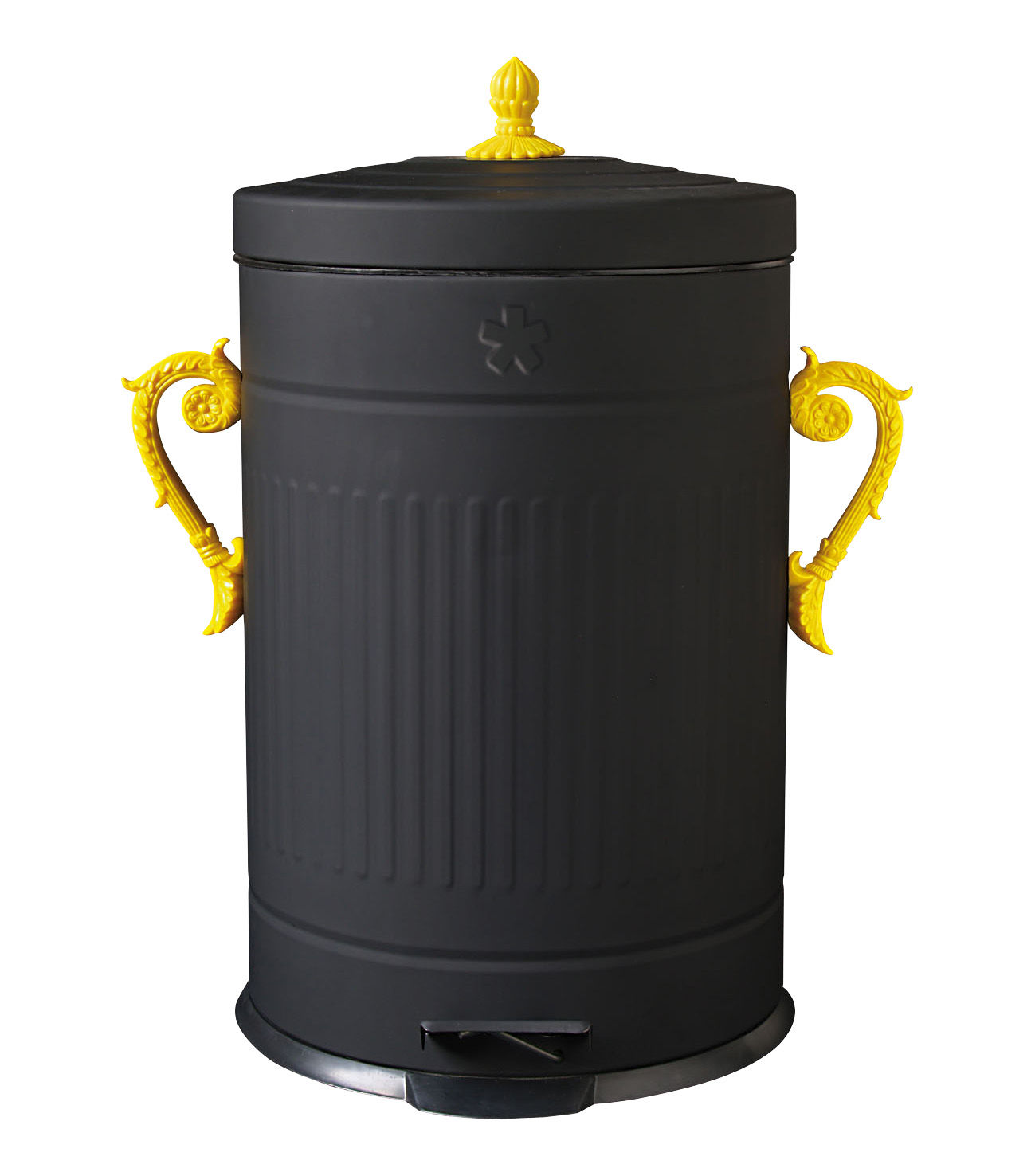 trash chic bin dustbin black yellow handles by seletti. Black Bedroom Furniture Sets. Home Design Ideas
