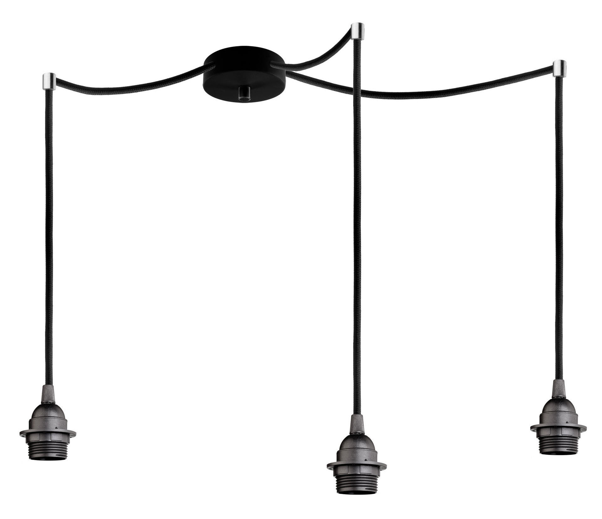 bi kage triple pendant triple with lampholder lampholder black cable black canopy black. Black Bedroom Furniture Sets. Home Design Ideas