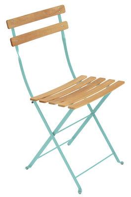 Chaise pliante Bistro / Métal & bois - Fermob bois,bleu lagune en bois