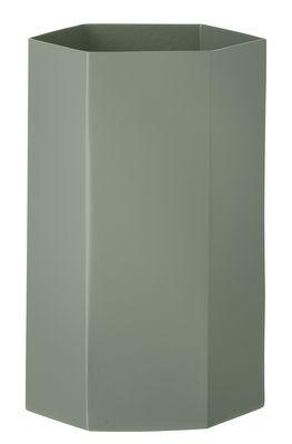Déco - Vases - Vase Hexagon / Ø 12 cm x H 21 cm - Ferm Living - Vert ancien - Métal laqué