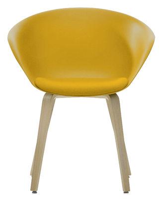 Chaise Duna 02 / Pieds bois - Coussin d´assise - Arper jaune,chêne blanchi en matière plastique