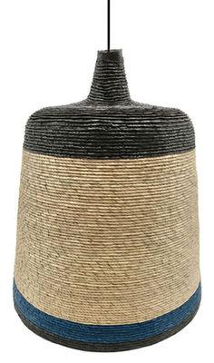 Luminaire - Suspensions - Suspension Fiona / Ø 25 cm - Paille tressée main - Maison Sarah Lavoine - Paille / 3 bandes noir & bleu - Paille tressée
